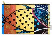 Stars And Stripes - Coastal Folk Art Fish Carry-all Pouch