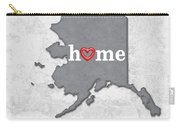 State Map Outline Alaska With Heart In Home Carry-all Pouch