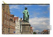 Statue Of Jan Van Eyck Beside The Spieglerei Canal In Bruges Carry-all Pouch