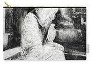 Statue Of Weeping Woman, Lafayette Cemetery, New Orleans In Black And White Sketch Carry-all Pouch