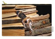 Stepping Down - Calico Cat On Beech Woodpile Carry-all Pouch