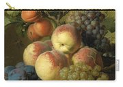 Still Life Of Peaches  Grapes And Plums On A Stone Ledge With A Bird And Butterfly Carry-all Pouch