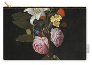 Still Life Of Roses Lilies And Other Flowers In A Glass Vase On A Marble Ledge Carry-all Pouch