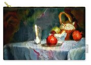 Still Life Oil Painting Table With Pomegranate Ceramic Kettle Glass Knife And Bowl Of Fruit Pears Linen Sketch Painting Life Drawing Carry-all Pouch