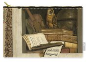 Still Life With Books Sheet Music Violin Celestial Globe And An Owl Carry-all Pouch