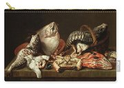 Still Life With Fishes, A Crab And Oysters Carry-all Pouch