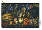 Still Life With Melons Apples Cherries Figs And Grapes On A Stone Ledge Carry-all Pouch