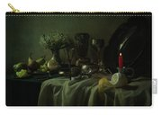 Still Life With Metal Dishes, Fruits And Fresh Flowers Carry-all Pouch