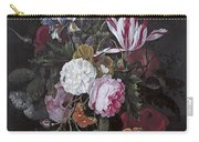 Still Life With Peonies Roses Irises Poppies And A Tulip With Butterflies A Dragonfly And Other Inse Carry-all Pouch