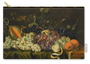 Still Life With Red Black And Green Grapes Carry-all Pouch