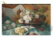 Still Life With Roses In A Cup Ornamental Object And Score Carry-all Pouch