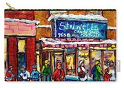 Stilwell's Candy Shop Montreal Memories Lasalle Verdun Winter City Scene Hockey Art Carole Spandau   Carry-all Pouch