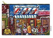 Stilwell's Candy Stop Winterscene Painting For Sale Montreal Hockey Art C Spandau Snowy Barber Shop Carry-all Pouch