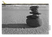 Stone Balance On The Beach In Monochrome Carry-all Pouch
