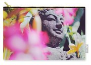 Stone Carved Statue Of Buddha Surrounded With Colorful Flowers Bali, Indonesia Carry-all Pouch