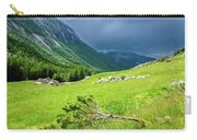 Storm Approaching Over Beautiful Green Field In Norway Carry-all Pouch