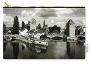 Strasbourg. View From The Barrage Vauban. Black And White Carry-all Pouch