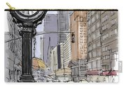 Street Clock On 5th Avenue Handmade Sketch Carry-all Pouch