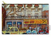 Street Hockey Pointe St Charles Winter  Hockey Scene Paul's Restaurant Quebec Art Carole Spandau     Carry-all Pouch
