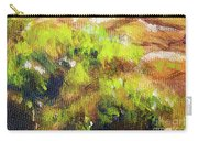 Structure Of Wooden Log Covered With Moss, Closeup Painting Detail. Carry-all Pouch