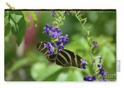 Stunning Black And White Zebra Butterfly In The Spring Carry-all Pouch