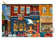 St.viateur Bagel Hockey Montreal Carry-all Pouch by Carole Spandau