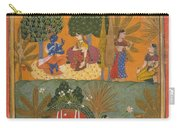 Style Of Manohar    Krishna And Radha With Their Confidantes Page From A Dispersed Gita Govinda Carry-all Pouch