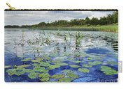 Summer Blue  Lake Under Clody Grey Sky With Forest On Coast Carry-all Pouch