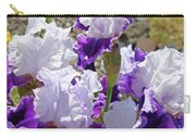 Summer Iris Garden Art Print White Purple Irises Flowers Baslee Troutman Carry-all Pouch