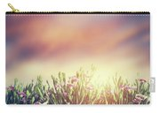 Summer Meadow Flowers In Grass At Sunset. Vintage Carry-all Pouch