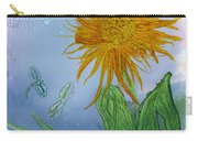 Sun Flower And Dragonflies  At Dusk Carry-all Pouch