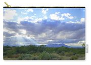 Sun Rays And Desert Landscape Carry-all Pouch