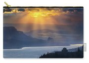 Sun Rays Over Columbia River Gorge During Sunrise Carry-all Pouch
