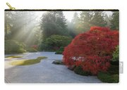 Sun Rays Over Japanese Flat Sand Garden In Autumn Carry-all Pouch