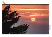 Sun Through The Clouds And Trees Sunset At The Mountains Carry-all Pouch