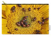 Sunflower Covered In Ladybugs Carry-all Pouch