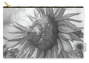 Sunflower Dawn Black And White Drawing Carry-all Pouch