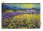 Sunflowers And Lavender Field - The Colors Of Provence Modern Impressionist Palette Knife Painting Carry-all Pouch
