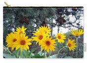 Sunflowers And Pine Cones Carry-all Pouch by Will Borden