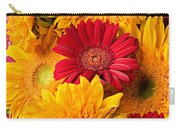Sunflowers And Red Mums Carry-all Pouch
