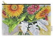 Sunflowers In Glass Vase Carry-all Pouch