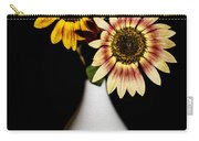 Sunflowers On Black Background And In White Vase Carry-all Pouch