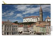 Sunny Tartini Square In Piran Slovenia With Government Building, Carry-all Pouch