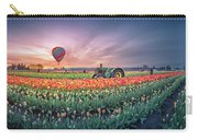 Sunrise, Hot Air Balloon And Moon Over The Tulip Field Carry-all Pouch
