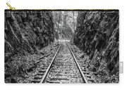 Sunrise Rails Black And White Vertical Panorama Carry-all Pouch