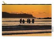 Sunrise Seascape With People Silhouettes Carry-all Pouch