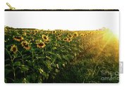 Sunset And Rows Of Sunflowers Carry-all Pouch