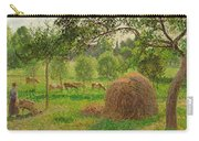 Sunset At Eragny Carry-all Pouch by Camille Pissarro