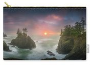 Sunset Between Sea Stacks With Trees Of Oregon Coast Carry-all Pouch