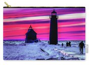 Sunset In Winter At Grand Haven Lighthouse Carry-all Pouch